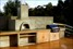 Wood-fired pizza oven, polished concrete bench-top, outdoor kitchen, BBQ, landscaping