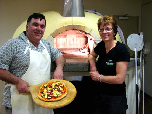 Commercial wood-fired pizza oven
